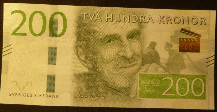 Ingmar Bergman pictured on Swedish 200 krona banknote