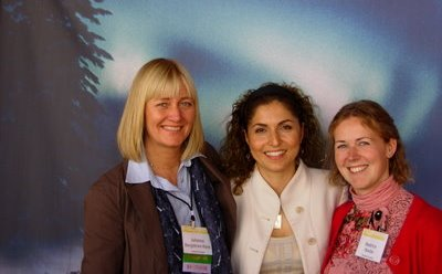 Johanna Bergstrom-Roos and Beatrice Nordin of Spaceport Sweden with Anousheh Ansari (middle), who is the world's 4th private space tourist, 1st female space tourist and 1st astronaut of Iranian descent.