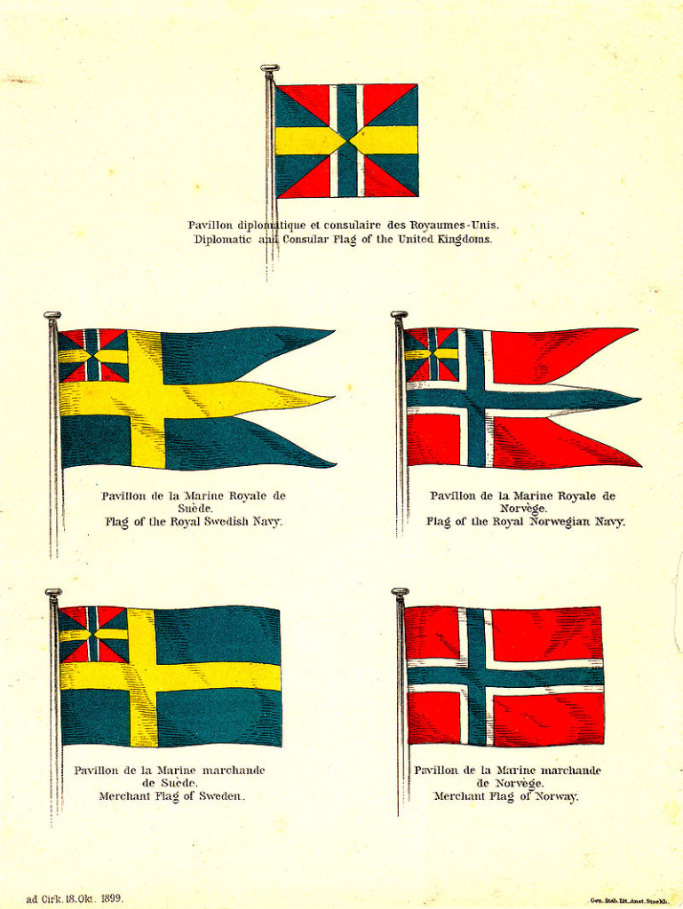 Flags of Sweden and Norway in 1899, after the removal of the union mark from the Norwegian merchant flag. Plate published by the foreign ministry of the united kingdoms to announce the recent change. Note the dark blue color and the correct proportions of the union mark in Swedish flags.(Source: Wikipedia)