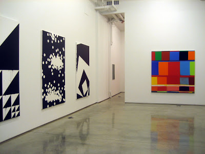 Three paintings by Gardar Einarsson and one by Stanley Whitney