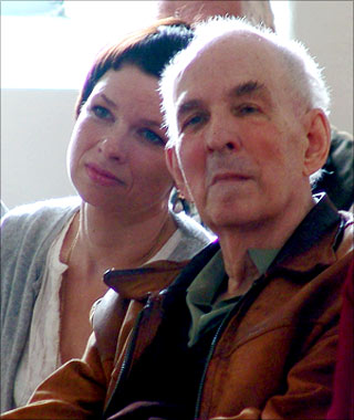 Linn Ullman and Ingmar Bergman in the church on Faro