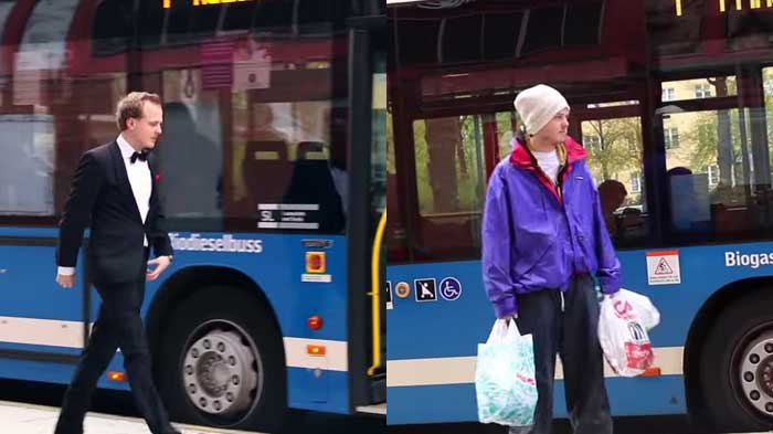 Rich vs poor test by activist group on city bus in Sweden