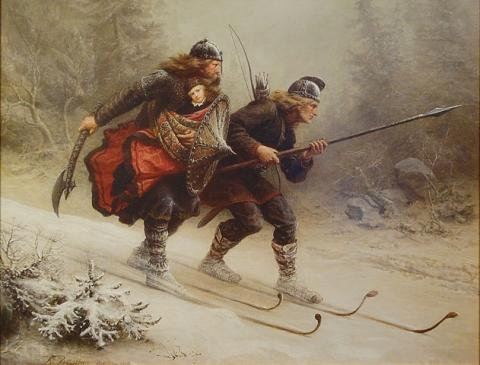 030316-Skiing-Birchlegs-Crossing-the-Mountain-with-the-Royal-Child-by-artist-Knud-Bergslien-from-1869
