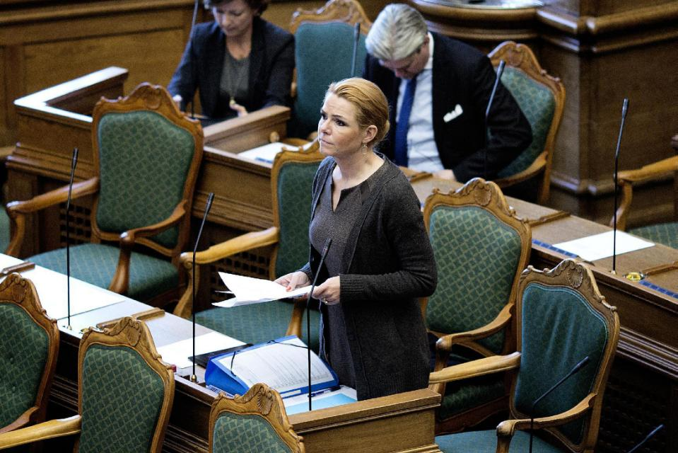 Immigration minister Inger Stoejberg, speaks in the Danish Parliament