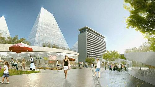 Bjaerke-Ingels Group proposal: Three pyramids