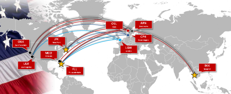 Norwegian's long haul network 2014