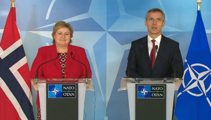 Jens Stoltenberg (NATO Secretary General): It is really a great honour and a great pleasure to welcome the Prime Minister of Norway to the NATO Headquarters