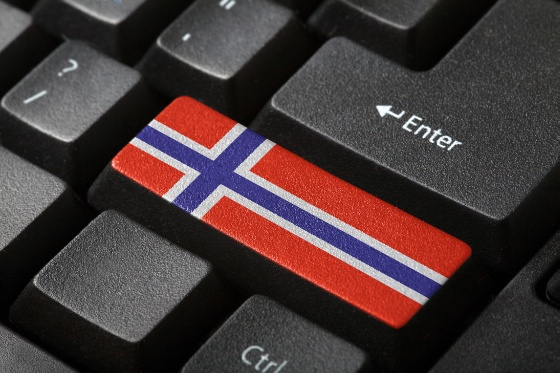 The Norwegian flag button on the keyboard. close-up