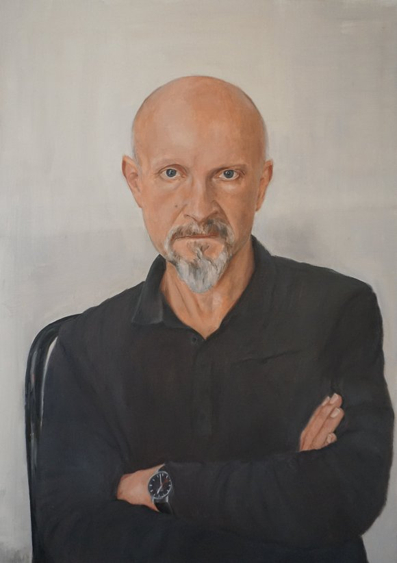 Author Lars Saabye Christensen, painting by Karen Aare