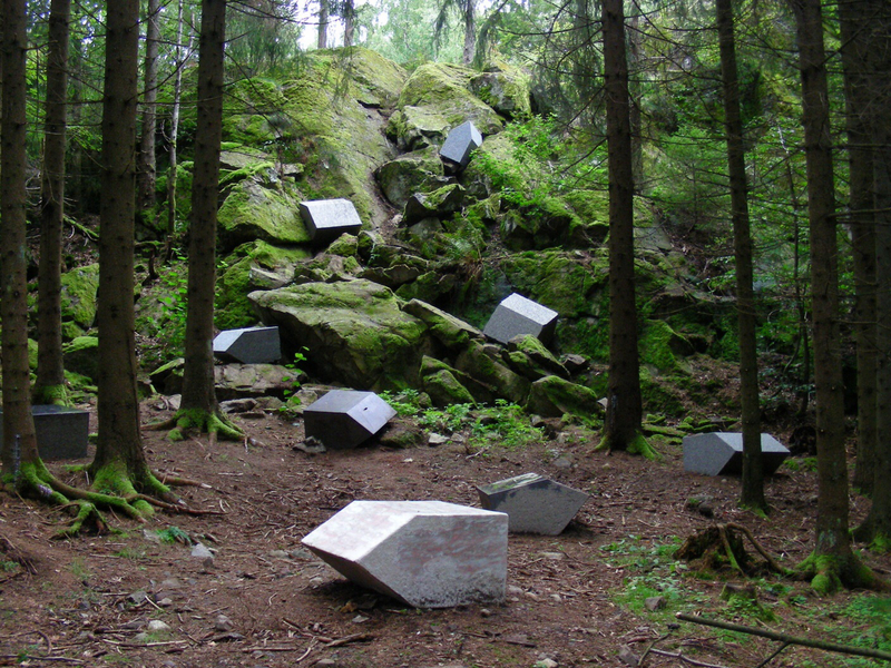 Danish Joern Ronnau created seven granite houses made from larvikite stone
