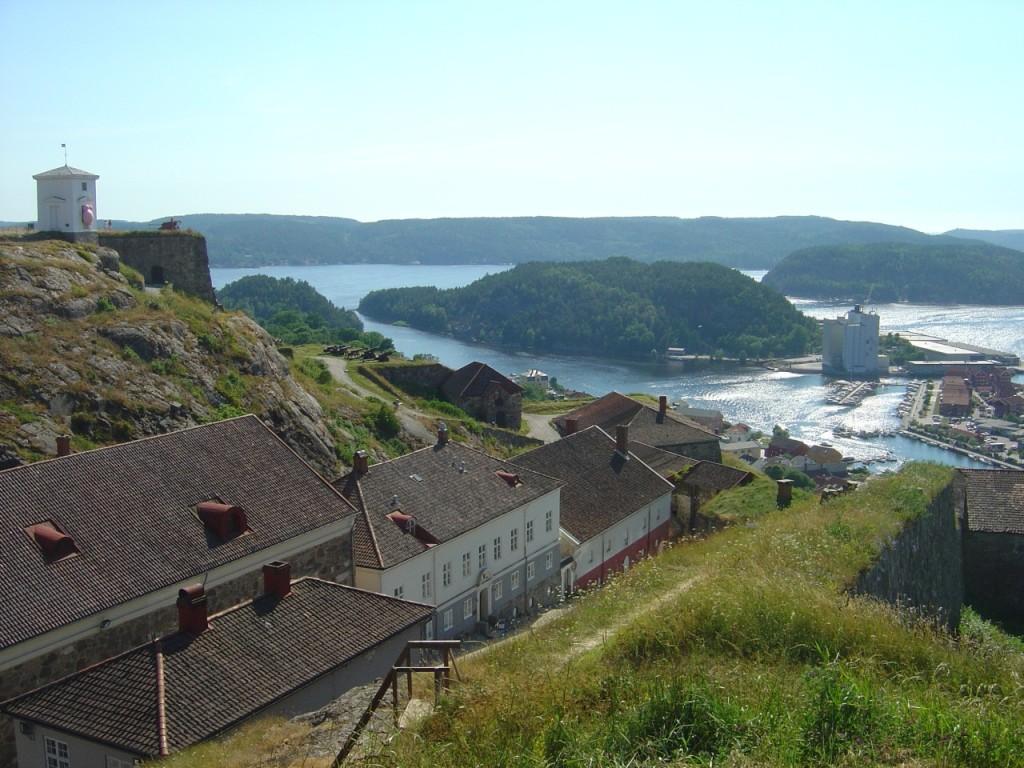 Fredriksten fortress with view of Halden beneath