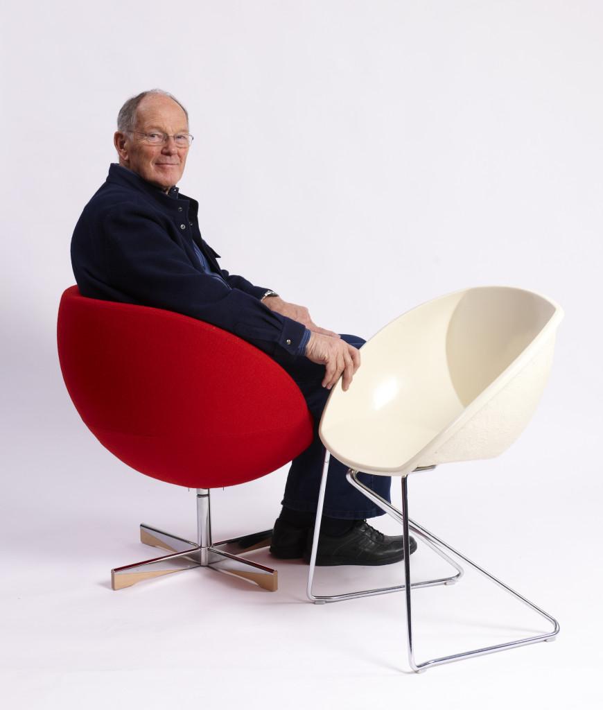 Designer Sven Ivar Dysthe in his Planet chair