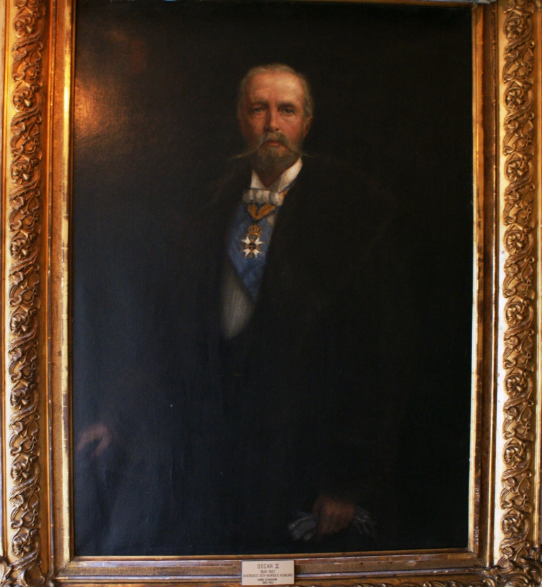 King Oscar II of Sweden and Norway (1829-1907). Painting in stairway at the hotel