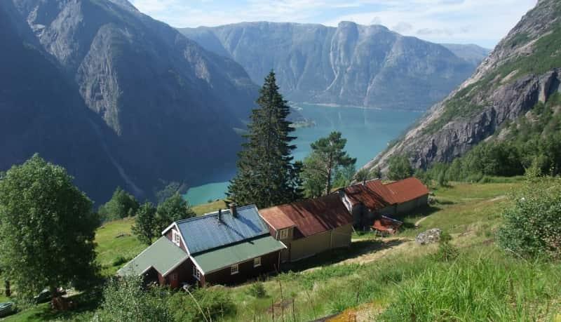 High mountain farm near freshwater