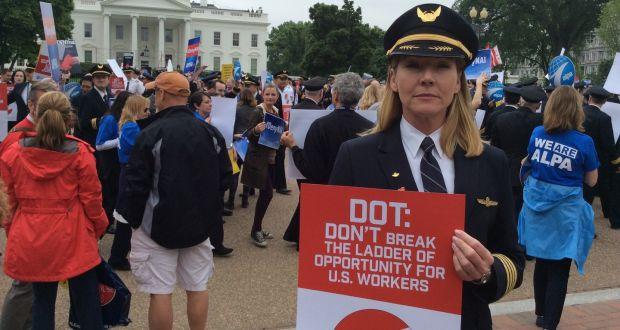 Captain Halli Mulei, spokesman for US Airline Pilots' Association protests over Norwegian Air Shuttle