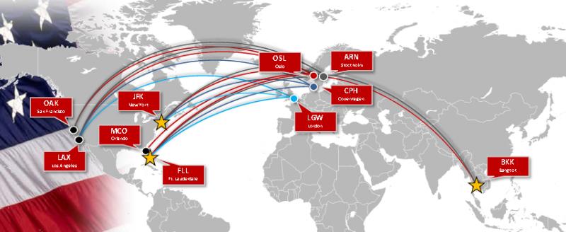 Norwegian Air Shuttle long haul network summer 2014