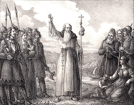 Ansgarius oreaches Christianity in Sweden (Hugo Hamilton)