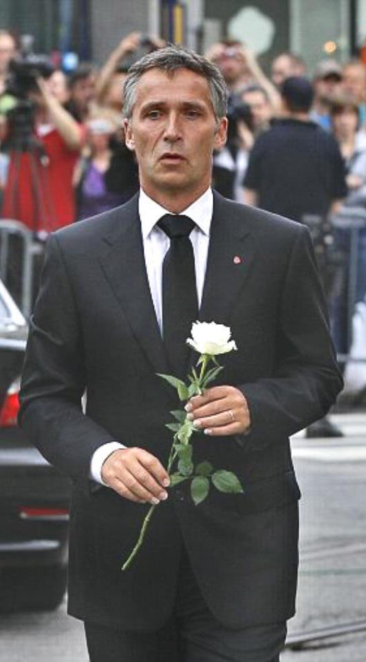 Prime minister Jens Stoltenberg after the Oslo bomb blast
