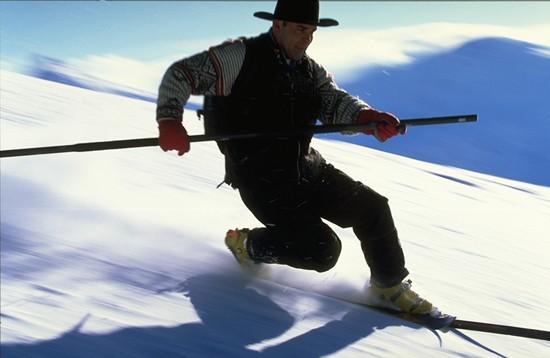 Telemark skiing in Telemark costume
