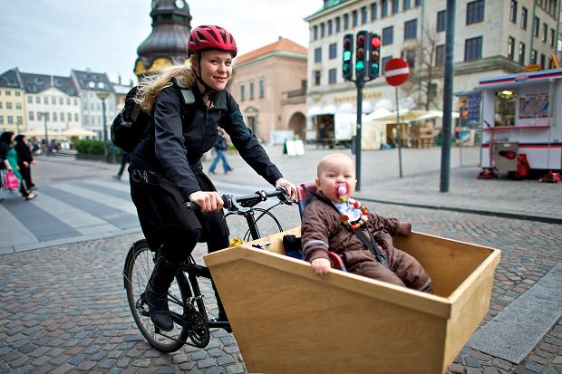 Cyclist with child carrier