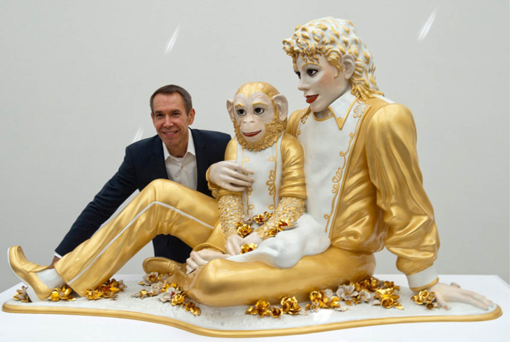 Jeff Koons with his Michael Jackson Bubble sculpture