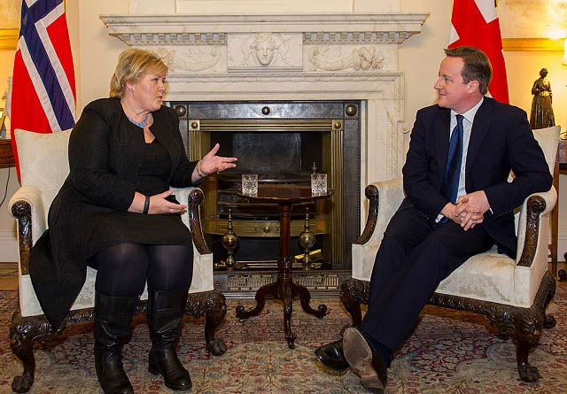 Norway's prime minister Erna Solberg is warning Britain's prime minister David Cameron not to exit EU