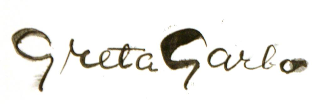 One of the very few Grata Garbo signatures in existence
