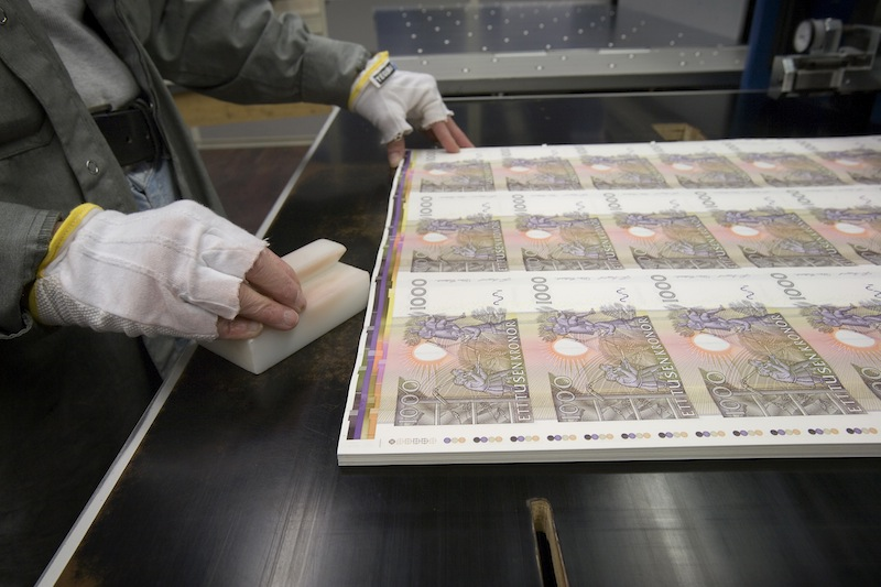 Printing of Swedish 1000 krona banknotes