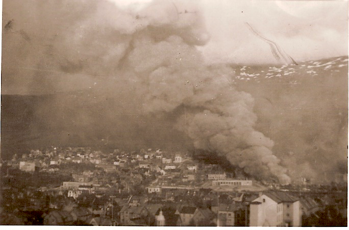 Narvik burning after German bombing 2nd June, 1940