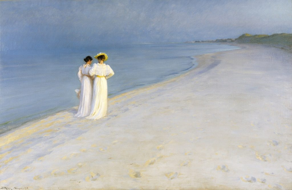 "Art and culrure in Denmark - P. S. Krøyer, ""Summer evening on Skagen Beach, Anna Ancher and Marie Krøyer walking together. Google Art Project"